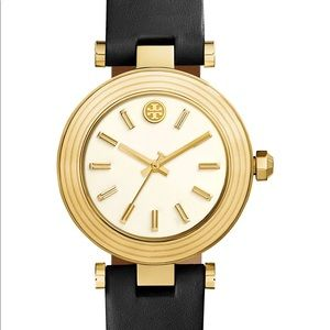 Tory Burch classic T leather strap watch